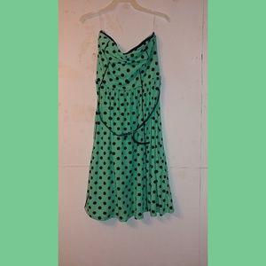 Polka dot strapless mini dress